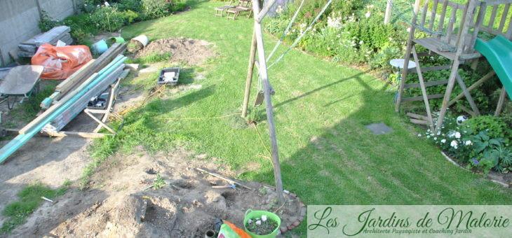 Avant/Après (5) : la terrasse ronde et le petit bassin