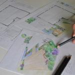 Projet d'aménagement: une terrasse avec un bassin