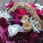 Bouquet de roses du jardin: pourpre et blanc