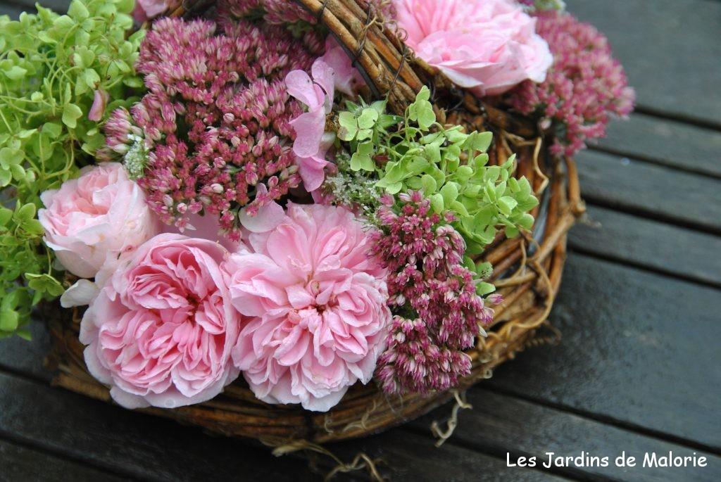 bouquets de fleurs du jardin avec rosa 'Bossa Nova' et 'Ballerina', hydrangea 'Annabelle' et sedum